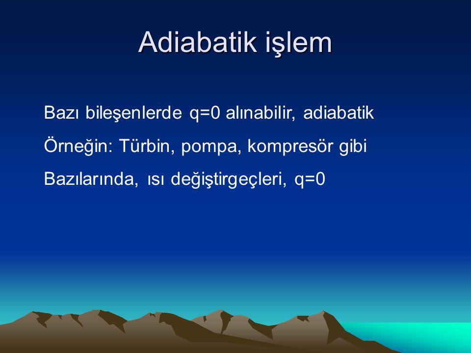Adiabatik işlem Bazı bileşenlerde q=0 alınabilir, adiabatik