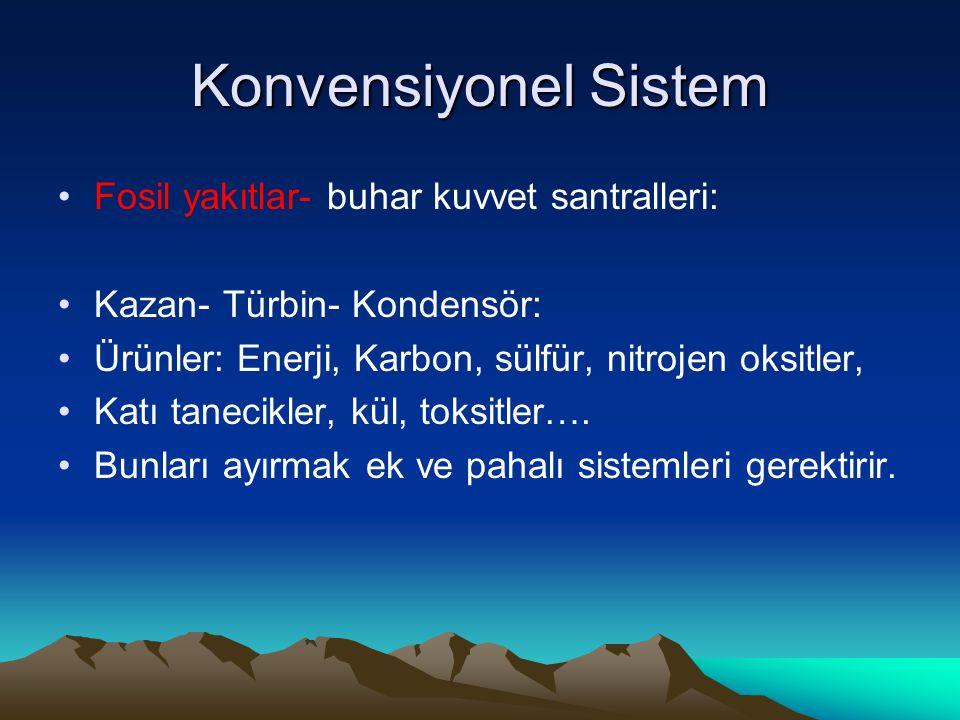 Konvensiyonel Sistem Fosil yakıtlar- buhar kuvvet santralleri: