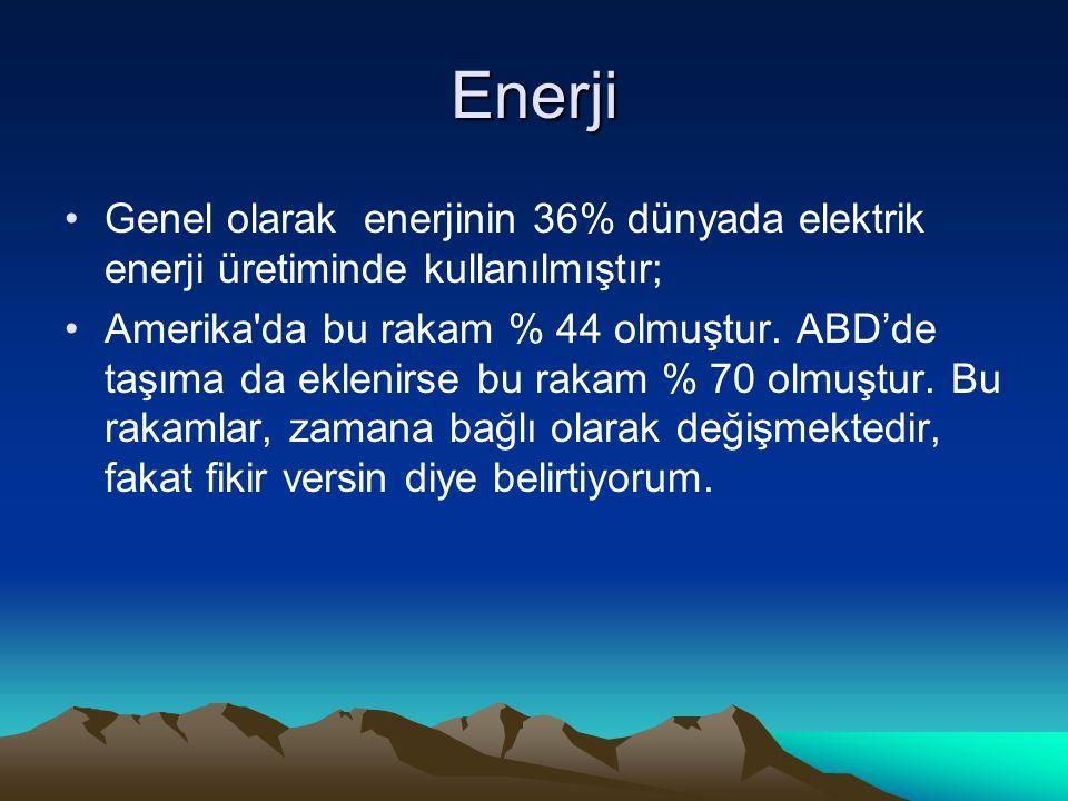 Enerji Genel olarak enerjinin 36% dünyada elektrik enerji üretiminde kullanılmıştır;