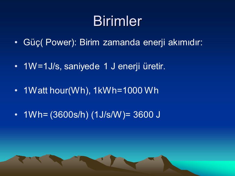 Birimler Güç( Power): Birim zamanda enerji akımıdır: