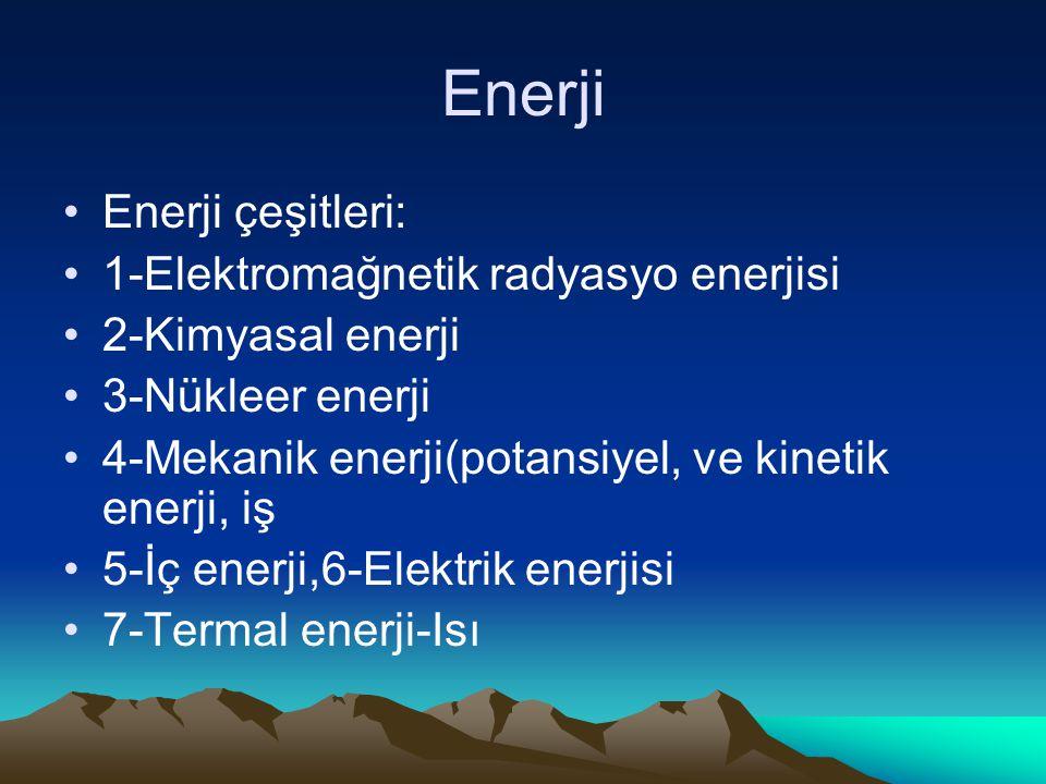 Enerji Enerji çeşitleri: 1-Elektromağnetik radyasyo enerjisi