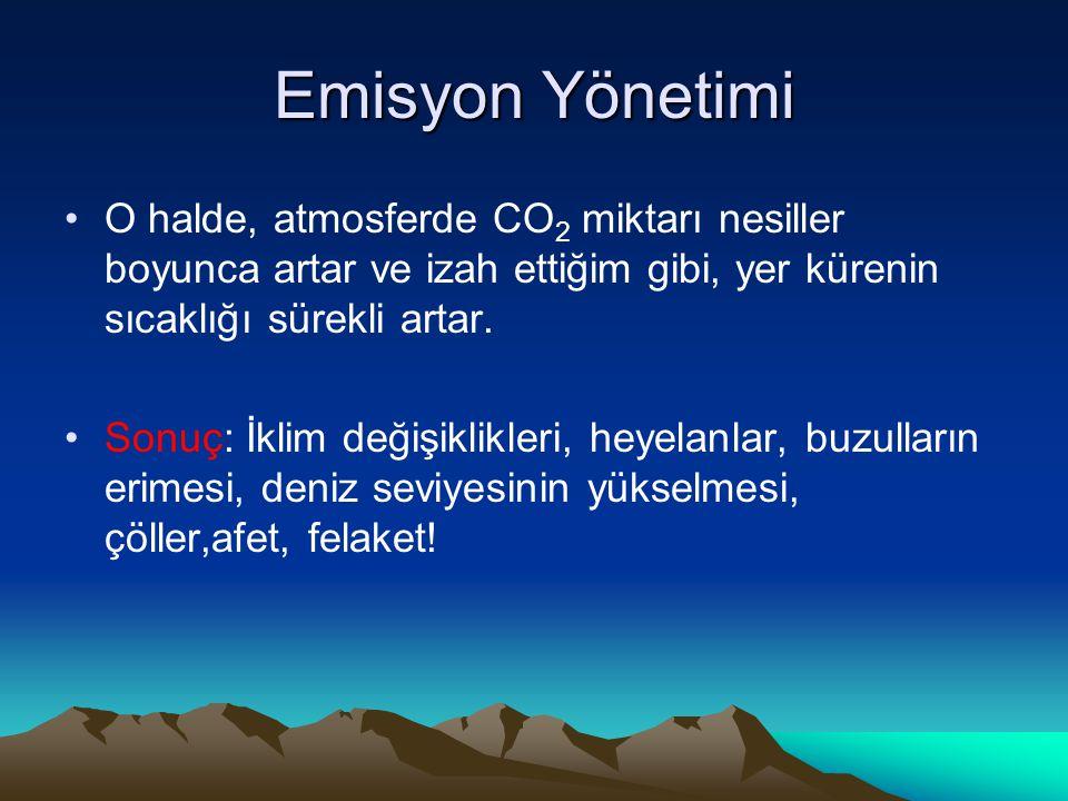 Emisyon Yönetimi O halde, atmosferde CO2 miktarı nesiller boyunca artar ve izah ettiğim gibi, yer kürenin sıcaklığı sürekli artar.