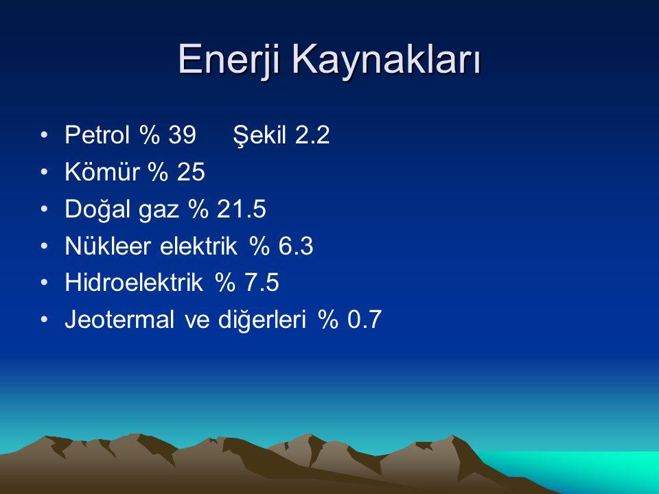 Enerji Kaynakları Petrol % 39 Şekil 2.2 Kömür % 25 Doğal gaz % 21.5
