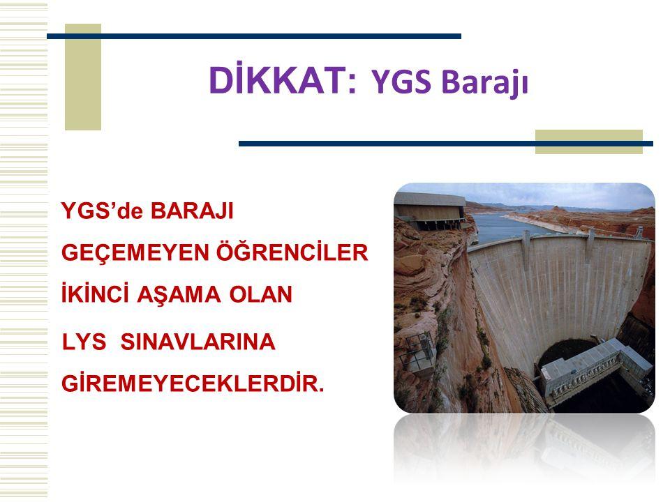 DİKKAT: YGS Barajı YGS'de BARAJI GEÇEMEYEN ÖĞRENCİLER İKİNCİ AŞAMA OLAN. LYS SINAVLARINA GİREMEYECEKLERDİR.