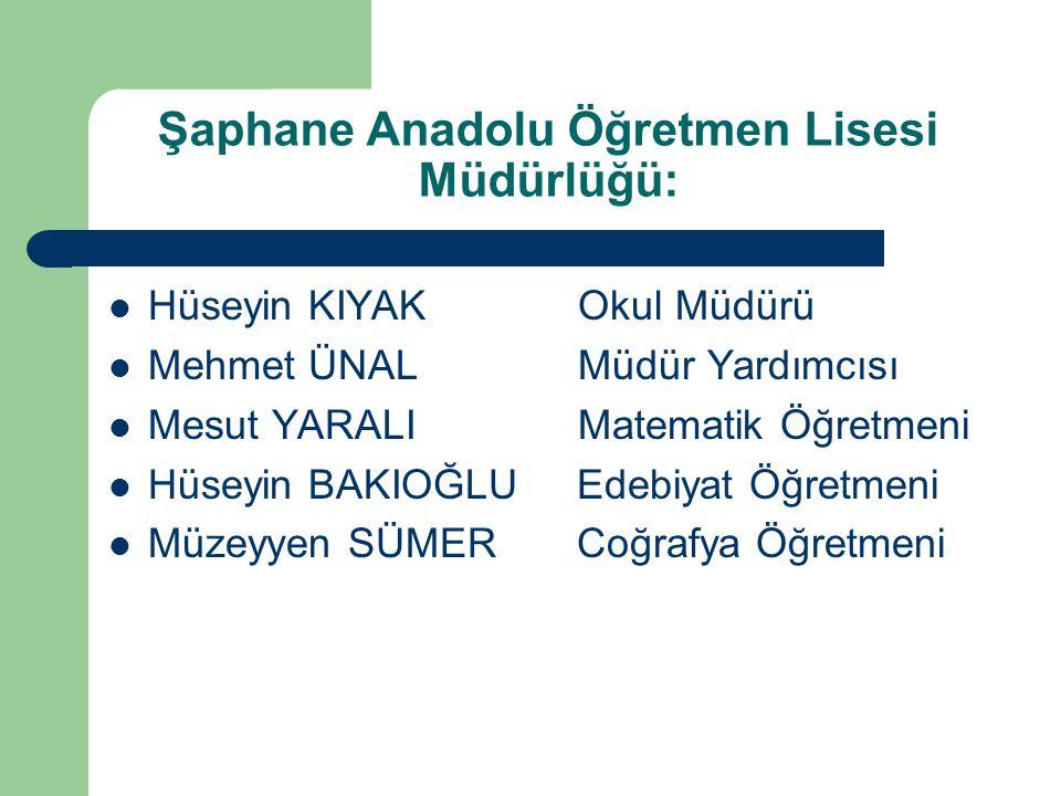 Şaphane Anadolu Öğretmen Lisesi Müdürlüğü: