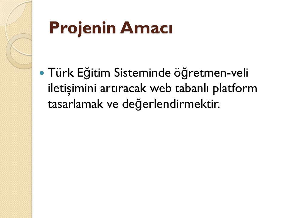 Projenin Amacı Türk Eğitim Sisteminde öğretmen-veli iletişimini artıracak web tabanlı platform tasarlamak ve değerlendirmektir.
