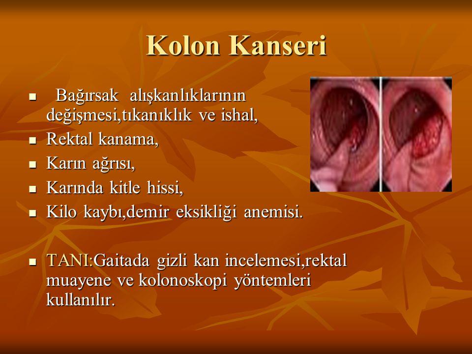 Kolon Kanseri Bağırsak alışkanlıklarının değişmesi,tıkanıklık ve ishal, Rektal kanama, Karın ağrısı,