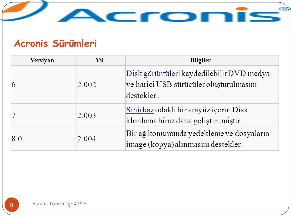 Acronis Sürümleri Versiyon. Yıl. Bilgiler. 6. 2.002.