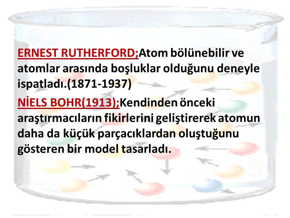 ERNEST RUTHERFORD;Atom bölünebilir ve atomlar arasında boşluklar olduğunu deneyle ispatladı.(1871-1937)