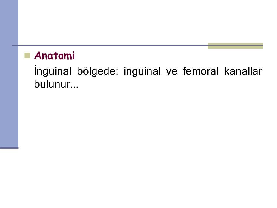 Anatomi İnguinal bölgede; inguinal ve femoral kanallar bulunur...