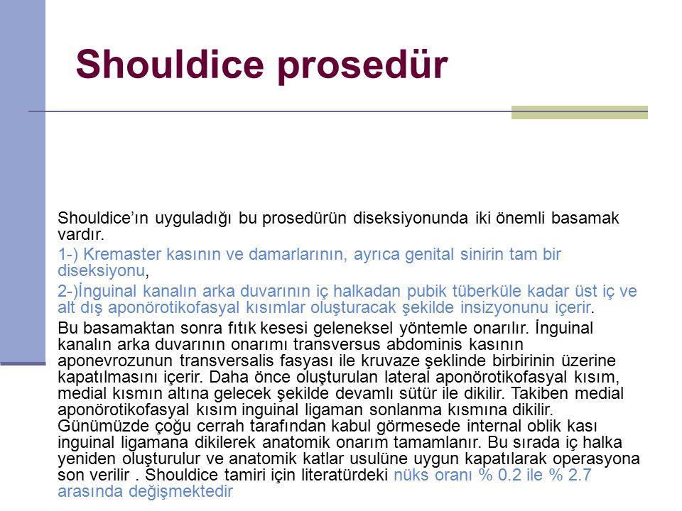 Shouldice prosedür Shouldice'ın uyguladığı bu prosedürün diseksiyonunda iki önemli basamak vardır.