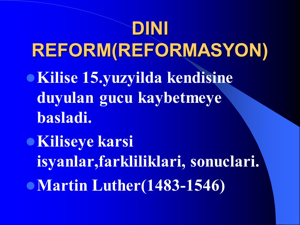 DINI REFORM(REFORMASYON)