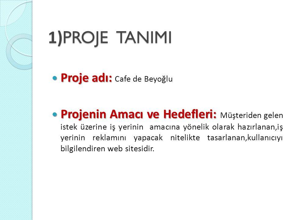 1)PROJE TANIMI Proje adı: Cafe de Beyoğlu