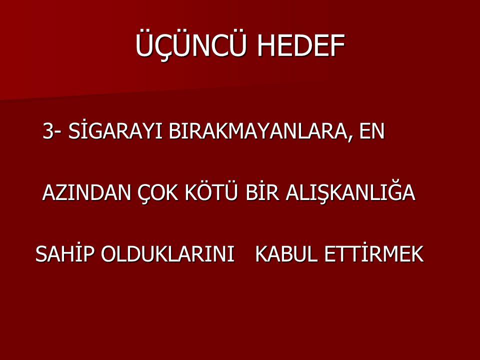 ÜÇÜNCÜ HEDEF 3- SİGARAYI BIRAKMAYANLARA, EN