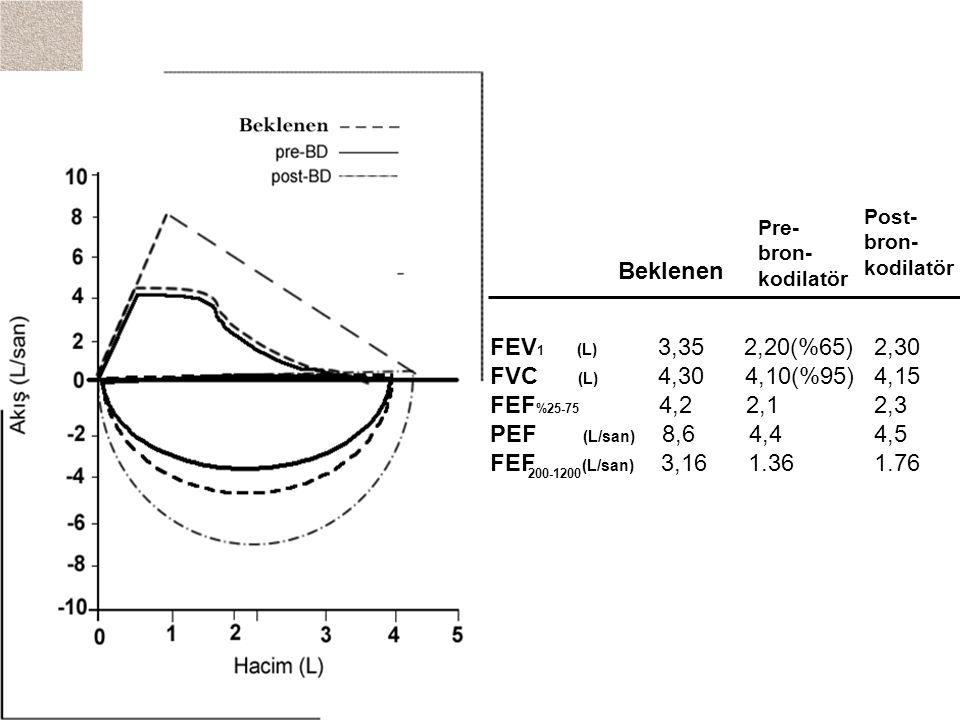 Beklenen FEV1 (L) 3,35 2,20(%65) 2,30 FVC (L) 4,30 4,10(%95) 4,15