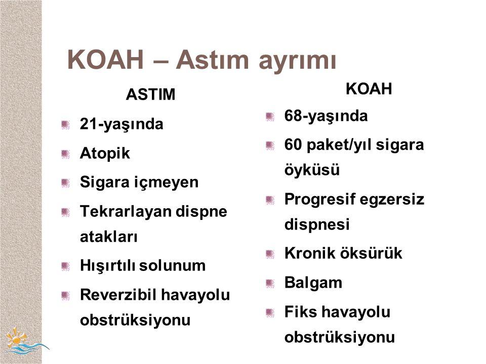 KOAH – Astım ayrımı ASTIM KOAH 68-yaşında 21-yaşında