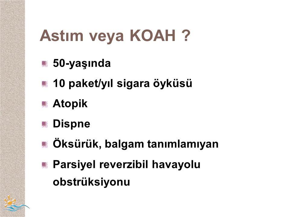 Astım veya KOAH 50-yaşında 10 paket/yıl sigara öyküsü Atopik Dispne