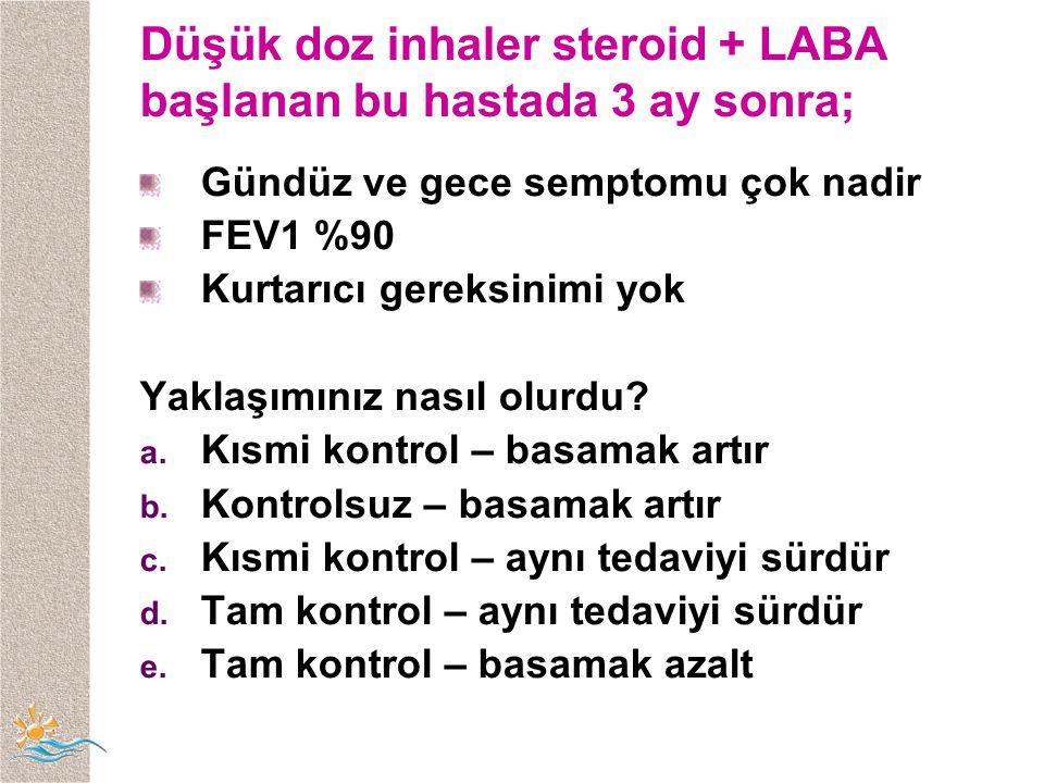 Düşük doz inhaler steroid + LABA başlanan bu hastada 3 ay sonra;