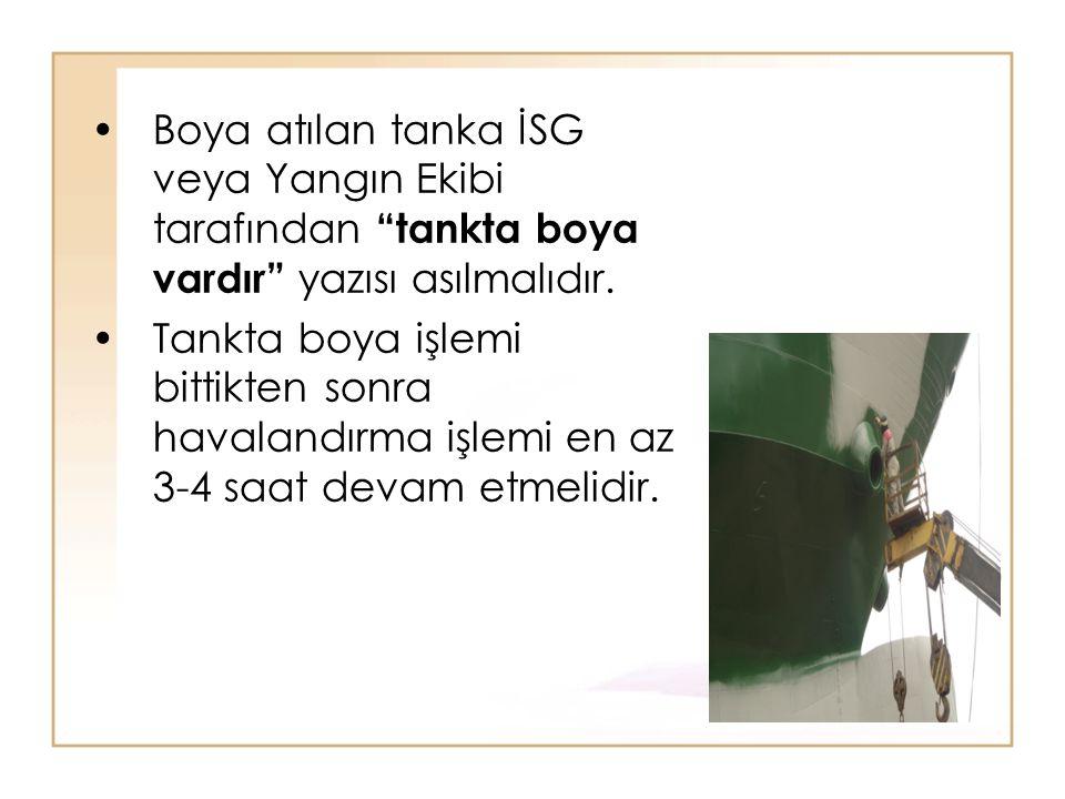 Boya atılan tanka İSG veya Yangın Ekibi tarafından tankta boya vardır yazısı asılmalıdır.