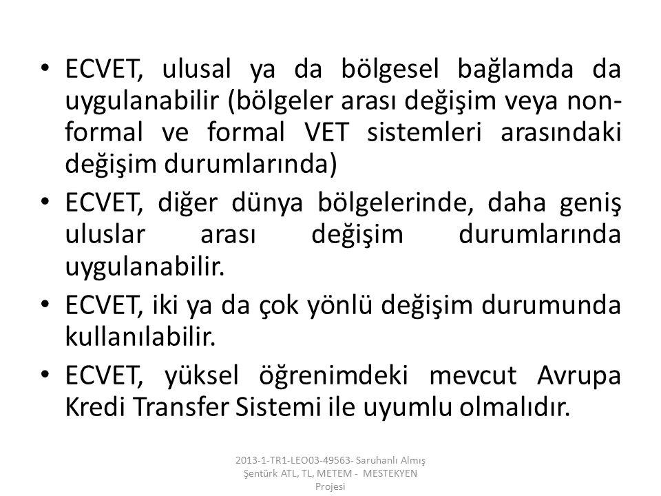 ECVET, iki ya da çok yönlü değişim durumunda kullanılabilir.