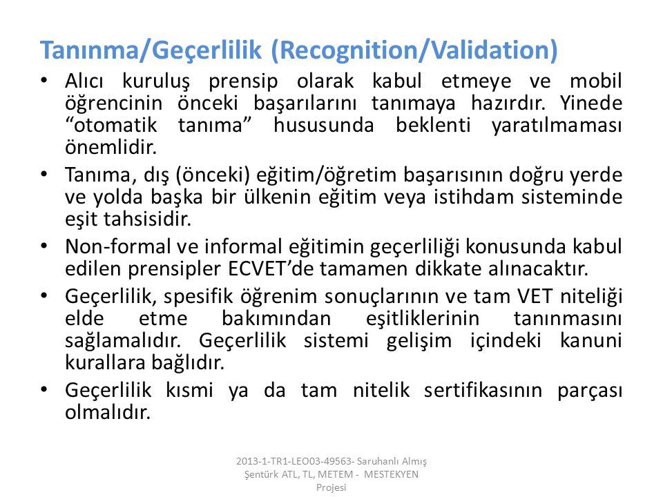 Tanınma/Geçerlilik (Recognition/Validation)