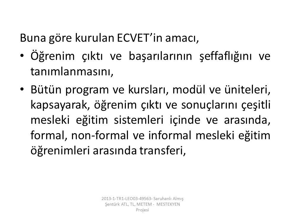 Buna göre kurulan ECVET'in amacı,