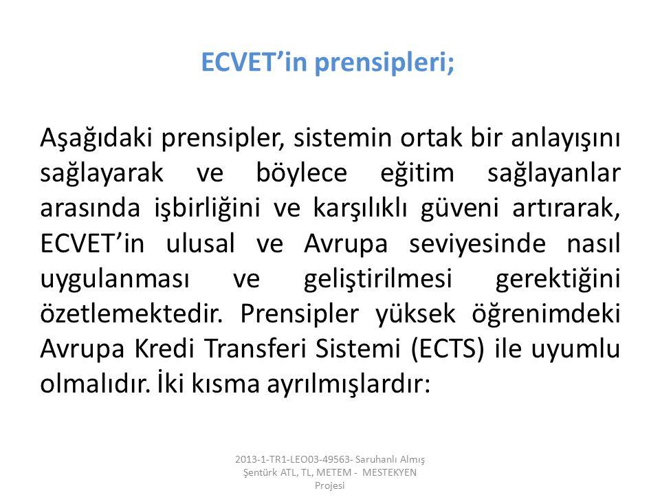 ECVET'in prensipleri;