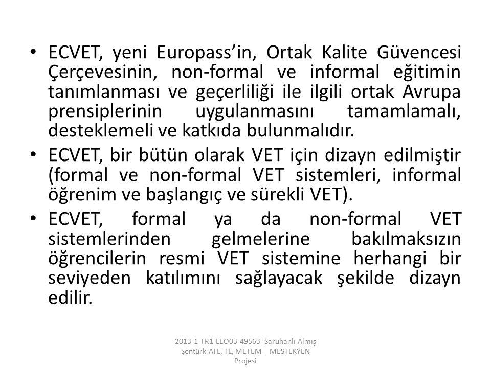 ECVET, yeni Europass'in, Ortak Kalite Güvencesi Çerçevesinin, non-formal ve informal eğitimin tanımlanması ve geçerliliği ile ilgili ortak Avrupa prensiplerinin uygulanmasını tamamlamalı, desteklemeli ve katkıda bulunmalıdır.