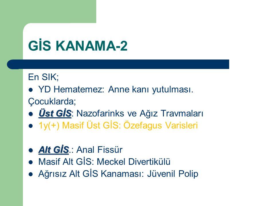 GİS KANAMA-2 En SIK; YD Hematemez: Anne kanı yutulması. Çocuklarda;