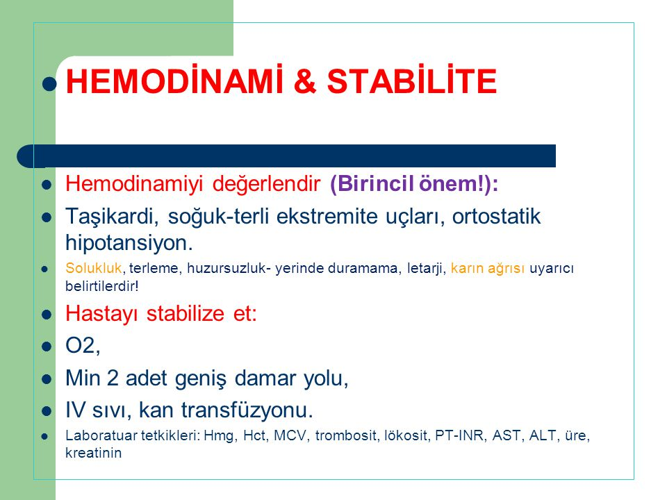 HEMODİNAMİ & STABİLİTE
