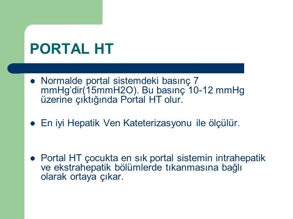 PORTAL HT Normalde portal sistemdeki basınç 7 mmHg'dir(15mmH2O). Bu basınç 10-12 mmHg üzerine çıktığında Portal HT olur.