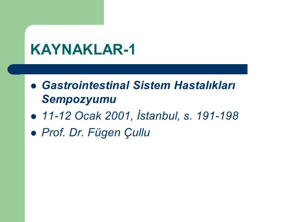 KAYNAKLAR-1 Gastrointestinal Sistem Hastalıkları Sempozyumu