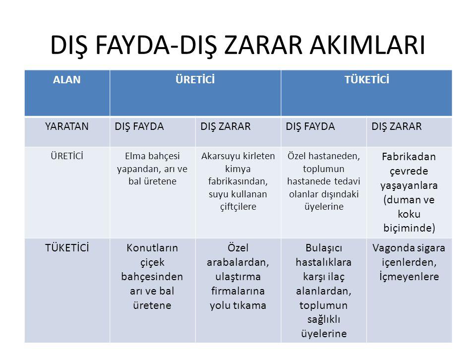 DIŞ FAYDA-DIŞ ZARAR AKIMLARI