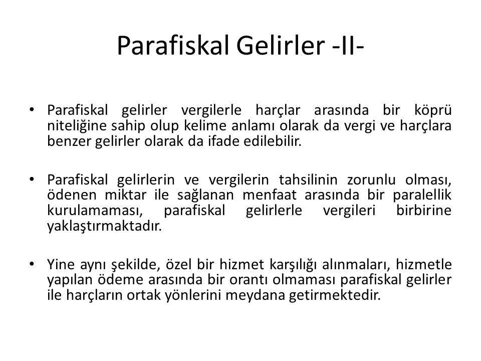 Parafiskal Gelirler -II-
