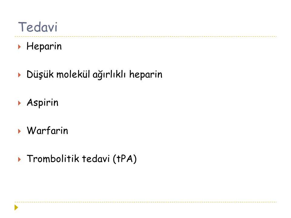Tedavi Heparin Düşük molekül ağırlıklı heparin Aspirin Warfarin