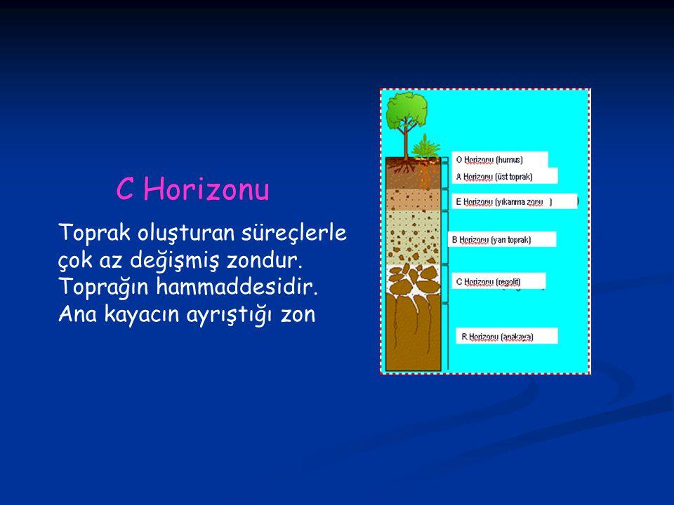 C Horizonu Toprak oluşturan süreçlerle çok az değişmiş zondur.