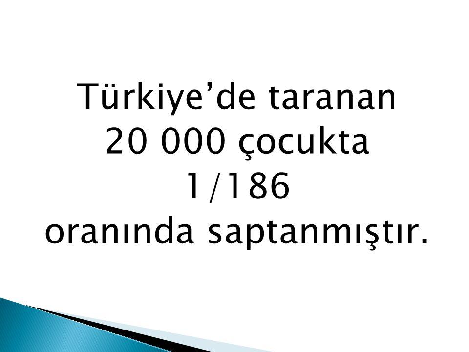 Türkiye'de taranan 20 000 çocukta 1/186 oranında saptanmıştır.