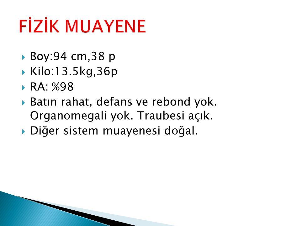 FİZİK MUAYENE Boy:94 cm,38 p Kilo:13.5kg,36p RA: %98