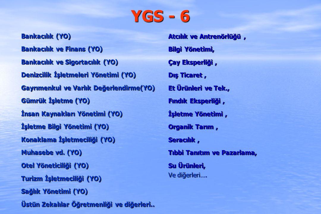 YGS - 6 Bankacılık (YO) Bankacılık ve Finans (YO)