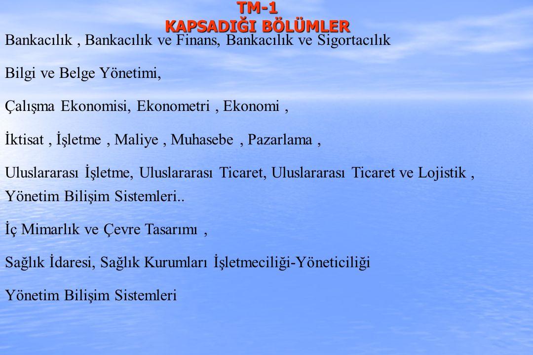 TM-1 KAPSADIĞI BÖLÜMLER