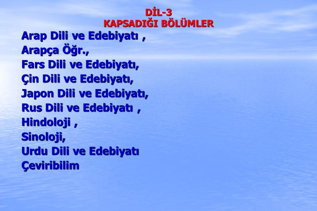 DİL-3 KAPSADIĞI BÖLÜMLER