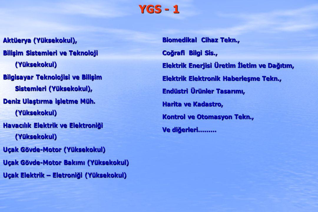 YGS - 1 Biomedikal Cihaz Tekn., Coğrafi Bilgi Sis.,