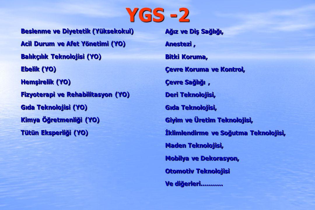 YGS -2 Beslenme ve Diyetetik (Yüksekokul)