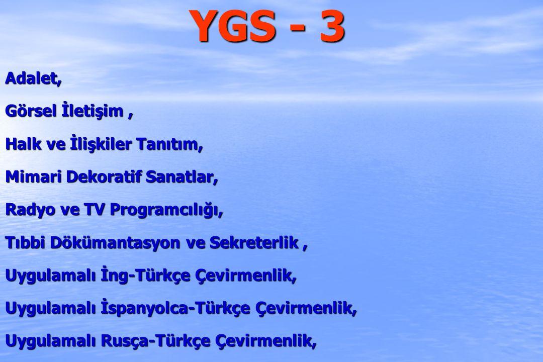 YGS - 3 Adalet, Görsel İletişim , Halk ve İlişkiler Tanıtım,