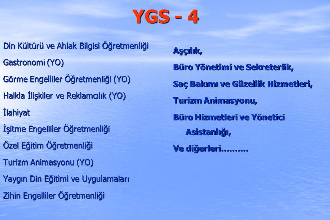 YGS - 4 Din Kültürü ve Ahlak Bilgisi Öğretmenliği Aşçılık,