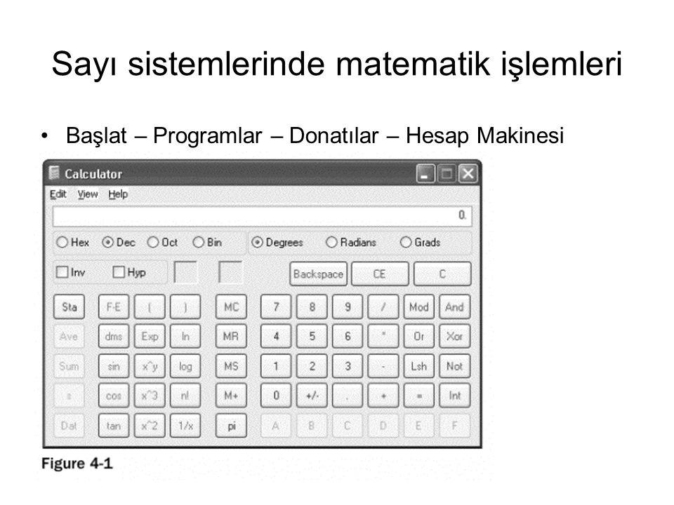 Sayı sistemlerinde matematik işlemleri