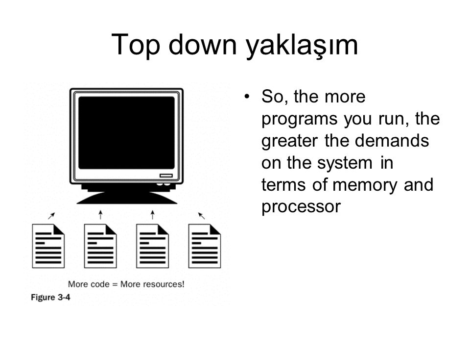 Top down yaklaşım So, the more programs you run, the greater the demands on the system in terms of memory and processor.