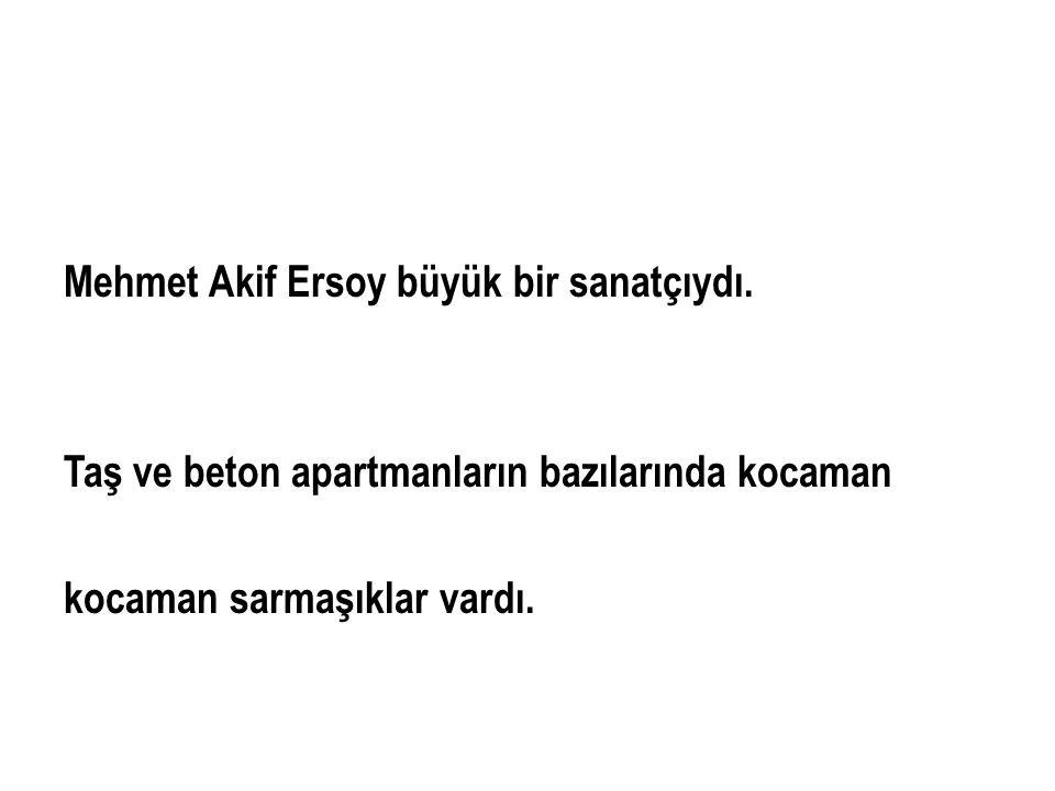 Mehmet Akif Ersoy büyük bir sanatçıydı