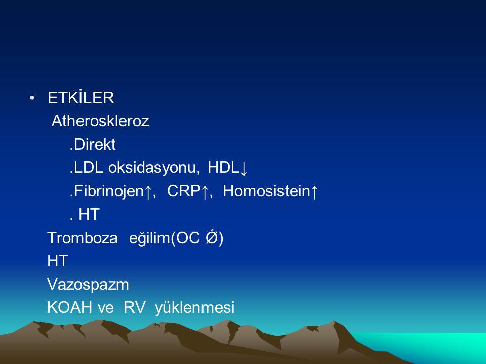 ETKİLER Atheroskleroz. .Direkt. .LDL oksidasyonu, HDL↓ .Fibrinojen↑, CRP↑, Homosistein↑ . HT.
