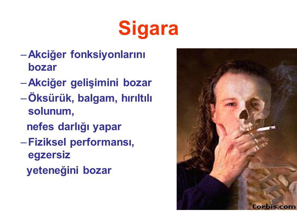 Sigara Akciğer fonksiyonlarını bozar Akciğer gelişimini bozar